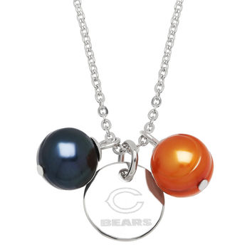 """Honora Officially Licensed NFL """"Chicago Bears"""" Ringed Pearl Pendant"""