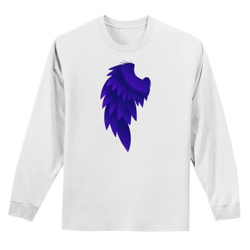 Single Left Dark Angel Wing Design - Couples Adult Long Sleeve Shirt