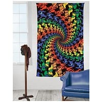 Cotton Grateful Dead Tapestry Wall Hang 3D Dancing Bear in a Spiral 60 x 90 inches