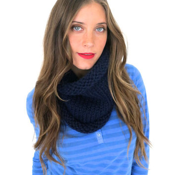 Chunky Soft Knit Cowl Neck Warmer // Essential Cowl in Midnight Ride // Many Colors and Vegan Options Available
