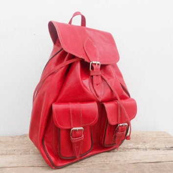 SALE - Red Leather Girls backpack satchel bag Handmade Soft Leather School College Travel Picnic Weekend bag
