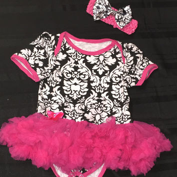 Infant Damask Print Onesuit Toddler Onesuit Baby Onesuit Infant Romper Toddler romper Tutu Birthday Dress Baby Romper Heart Plaid