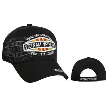 Vietnam Veteran Cap, Time Was Served Time to Honor III , BLACK Hat, Vietnam Vet Baseball Cap, Army Navy Air Force Marine Coast Guard,Embroidered Lettering, Veterans Day Retired or Disabled Veteran Gift, Adjustable One Size Fits Most Men and Women