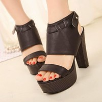 Sexy Women's High Block Heels Stappy Shoes Sandals Ankle Strap Buckle Opened Toe