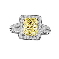 2 CT. Intensely Radiant Diamond Veneer Emerald Shape, Halo Micro-pave Settings Sterling Silver Vintage Style Ring. 635R12825Canary