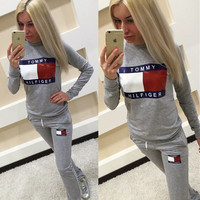 "Fashion ""Tommy Hilfiger"" Print Top Sweater Pants Trousers Sweatpants Set Two-Piece Sportswear"