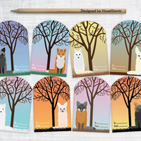 Printable Fox Gift Tags, Digital Foxes Hang Tags Collage Sheet, Animal Tags, DIY Gift Wrapping, Fox and Trees, Birthday Wedding Holiday Tags