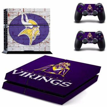 Minnesota Vikings PS4 Skin Sticker Decal for Sony PlayStation 4 Console and 2 controller skins PS4 Stickers Vinyl Accessory