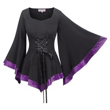 Women Vintage Gothic 3/4 Bell Sleeves Ladies Casualblouse