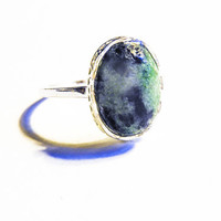 925 Sterling Silver Ruby Zoisite Ring Sterling Silver Green Gemstone Ring Silver Anyolite Ring Enhances Psychic Abilities Aids In Fertility