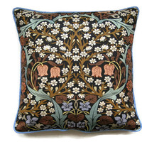Sanderson William Morris Blackthorn Arts and Crafts brown, blue, mid 60s vintage fabric cushion, throw pillow, home decor. 18  x 18 ins.