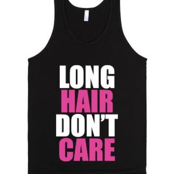 C - Long Hair Don't Care (white, pink)-Unisex Black Tank
