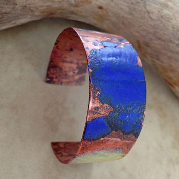 Enameled torch fired copper cuff bracelet, blue wide copper bangle, handforged metal cuff bracelet, blue and yellow enamel on copper