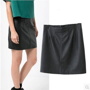Zippers Fashion PU Leather Stylish Skirt = 5840111681