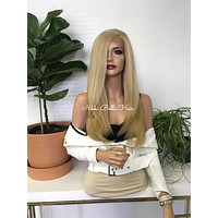 Blonde Balayage Human Hair Blend 4x4 SILK TOP Multiple Parting SWISS Lace Front Wig - London 111724*