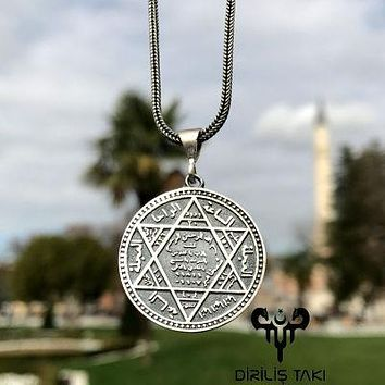 Seal of solomon david star pendant 925k sterling silver with chain necklace