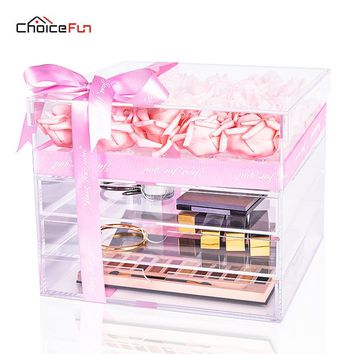 CHOICE FUN Large Luxury Acrylic Rose Flower Box Display Clear Makeup Organizer Gift Box