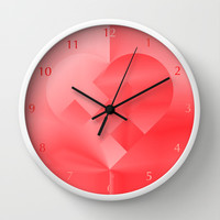 Danish Heart Love Wall Clock by Gréta Thórsdóttir  #love #heart #girly #kids #red #scarlet #ombre #pattern #bedroom