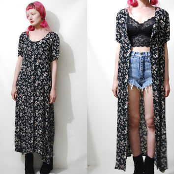 90s Vintage FLORAL Dress GRUNGE Black Dark Button-Down Long Maxi Lightweight vtg 1990s S