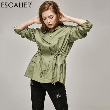 ESCALIER Big code military style Coat Women Slim Cotton Casual Long Trench Coat with  Adjustable Waist Zippers Overcoat XL-3XL