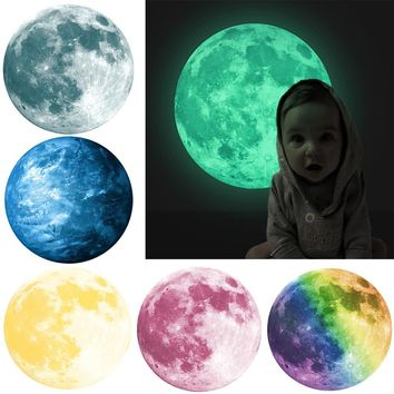 30cm 3D Large Moon Fluorescent Removable Glow-in-the-Dark Wall Sticker