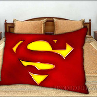 """Superman Classic Logo Rectangle - 20 """" x 30 """" inch,Pillow Case and Pillow Cover."""
