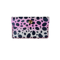 Custom Leather Wallet, Polka Dot Pattern Coin Purse, Pink and Black Wallet, Small Bag, Abstract Art Bag, Ombre Wallet, Business Card Holder