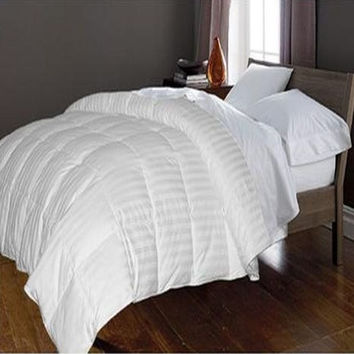 350 TC Cotton Damask Stripe Cover White Goose Down Comforter White