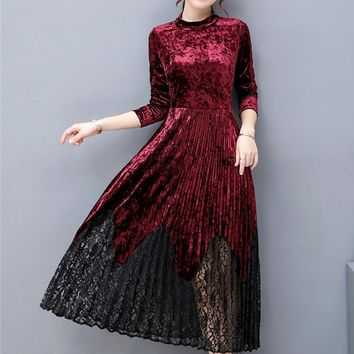 Women Spring Autumn Elegant Velvet Long Sleeve Dresses Vintage Work Business Office Party A-line Long Dress Fashion Vestidos