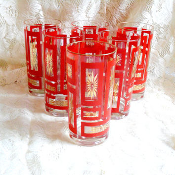 Vintage Drinking Glasses Gold Rim Red Starburst Sunburst Atomic Geometric High Ball Tea Glass Tumbler Set of 6 Six