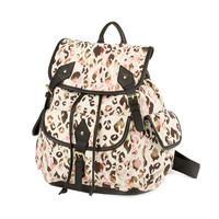 Fresno Pastel Leopard Print Canvas and Black Faux Leather Trim Backpack