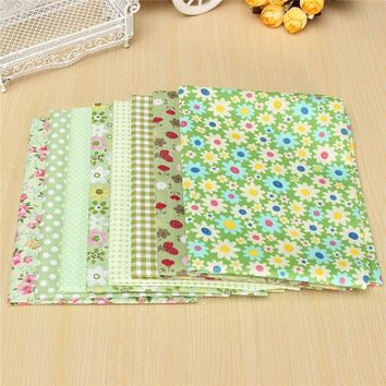 8pcs Assorted Pre-Cut Green Series Printed Cotton Quilting Fabric DIY Craft