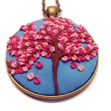 Polymer necklace blue necklace handmade pendant Cherry Blossom Women's Jewelry statement jewelry bohemian gift idea gift for her clay charm