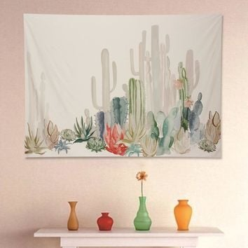 Wall Hanging Cotton Cactus Tapestry Bohemian Dorm Cover Beach Towel Throw Blanket Picnic Yoga Mat Home Room Decoration Textiles