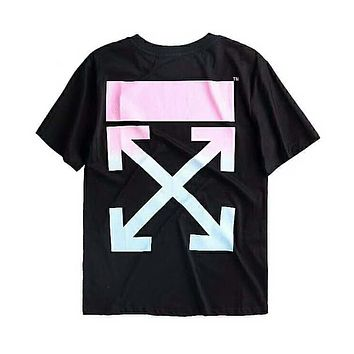 OFF-WHITE Tide brand gradient pink limited arrow print round neck loose short-sleeved T-shirt F-Great Me Store black