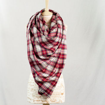 Red Plaid Blanket Scarf, Flannel Oversized Tartan Wrap Scarf, Flannel Woven Cotton Scarf, Fashion Scarf, Womens Scarves, Infinity Scarf
