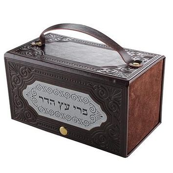 Leather Like Etrog Box With Laser Cut Plate 19*10 Cm