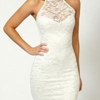 Full Lace Hanging Neck Slim Dress