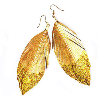 Glitter Gold Dipped  Faux Leather Feather Earrings  by lovesexton