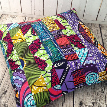 African decor Patchwork cushion African pillow cover, scatter cushion, African wax print  (17 inch) Africa decorative