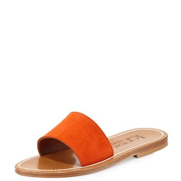 Anacapri Wide Band Slide Sandal, Velours Naranja - K. Jacques