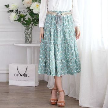 Leonyeetive 2017 Spring Summer Casual Floral Fashion Long Skirts Womens Cotton Linen Embroidery Girl Brand Style Skirt