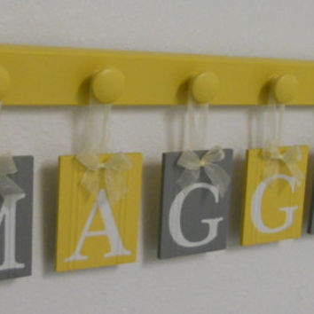 Wooden Alphabet Letters in Gray and Yellow Set Hanging Name on 6 Wood Hooks for Baby MAGGIE