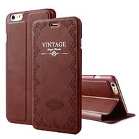 iPhone 6 Plus case, [Vintage Style] Case, [Stand Function] Case, iPhone 6 5.5inch [Fashion Slim] Cover, Lightweight Flip Case For iPhone 6 Plus (MM532) (Brown)