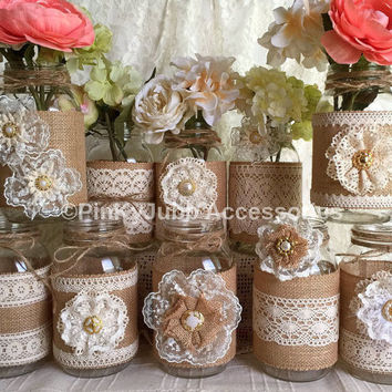 10x Natural Color Lace And Burlap Covered Mason Jar Vases, Wedding, Bridal  Shower,