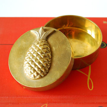 Vintage Brass Pineapple Motif Trinket Box Jewelry Box