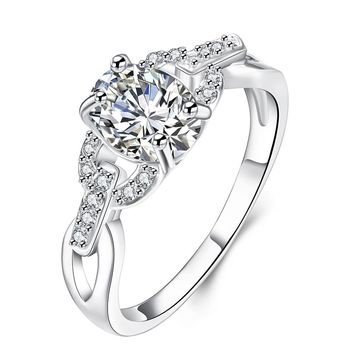 Fashion Zircon Ring for Women Silver Plated