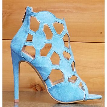 Cape Robbin Lena 8 Turquoise Cut Out Open Toe Booty Shoe Pump