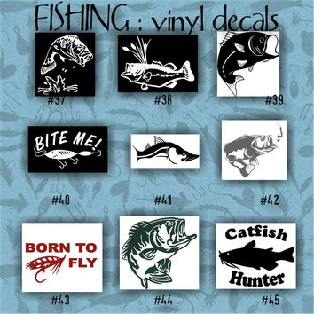 FISHING vinyl decals - 37-45 - car decal - vinyl sticker - laptop decal - stickers - fish - fishing boat - fisherman - custom vinyl decal