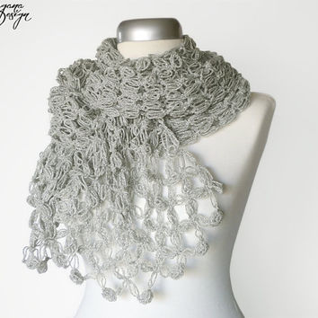 Crochet Solomons knot shimmering silver gray scarf lace bridal wrap shawl